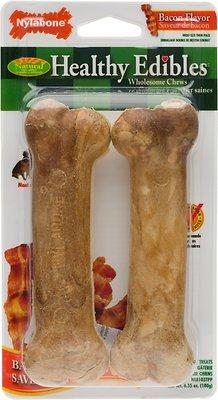 Nylabone Healthy Edibles Twin Pack Bacon Flavor Dog Bone Treats, Medium