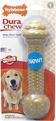 Nylabone DuraChew Barbell Peanut Butter Flavor Dog Chewy Toy, Large/X-Large