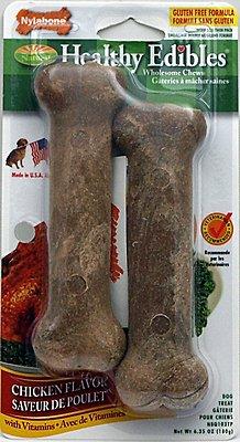 Nylabone Healthy Edibles Longer Lasting Twin Pack Chicken Flavor Dog Bone Treats, Medium