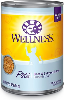 Wellness Complete Health Pate Beef & Salmon Formula Grain-Free Canned Cat Food, 12.5-oz, case of 12
