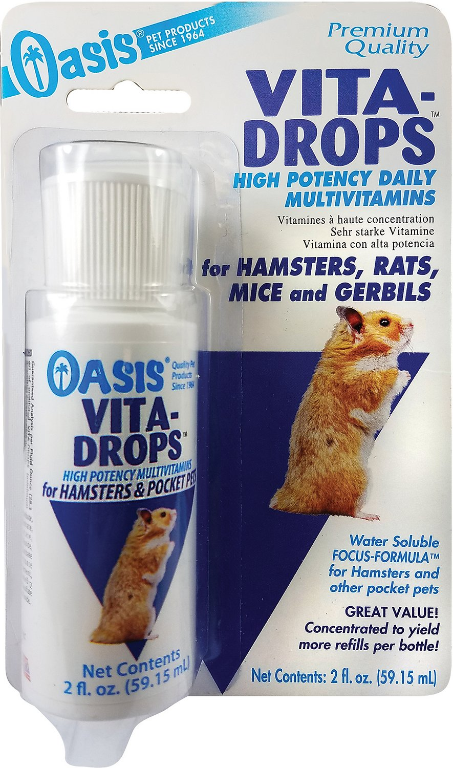 Oasis Vita-Drops Daily Multivitamin Hamster, Rat, Mouse & Gerbil Supplement, 2-oz bottle (Weights: 2ounces) Image