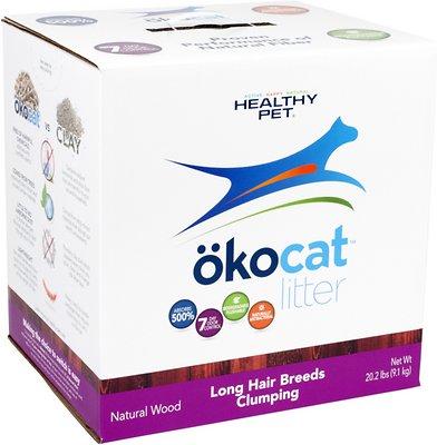 Okocat Natural Wood Long Hair Breeds Cat Litter, 20.2-lb box