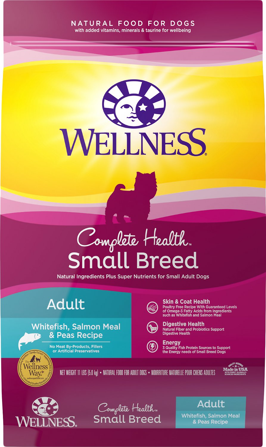 Wellness Complete Health Small Breed Adult Whitefish, Salmon & Peas Dry Dog Food, 11-lb