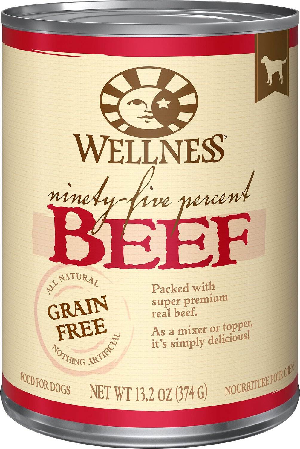 Wellness 95% Beef Grain-Free Canned Dog Food, 13.2-oz