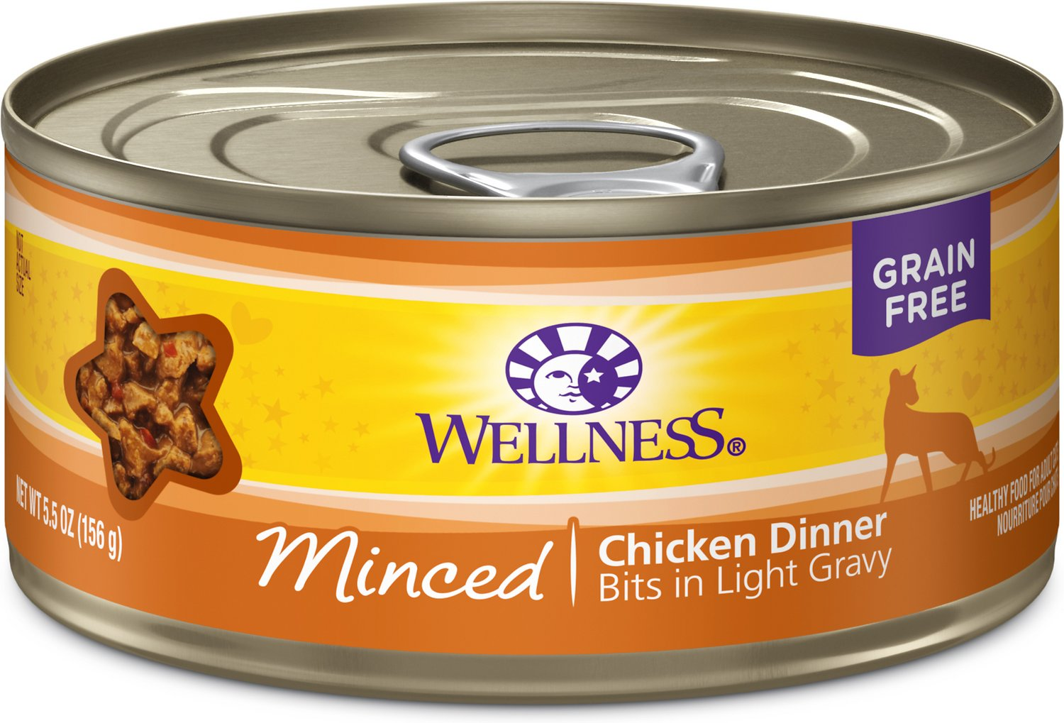 Wellness Minced Chicken Dinner Grain-Free Canned Cat Food, 5.5-oz