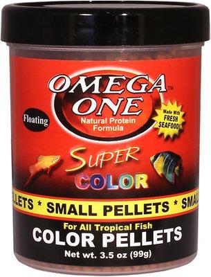 Omega One Super Color Floating Pellets Tropical Fish Food, 3.5-oz jar