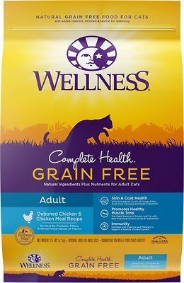 Wellness Complete Health Natural Grain-Free Deboned Chicken & Chicken Meal Dry Cat Food, 5.5-lb bag
