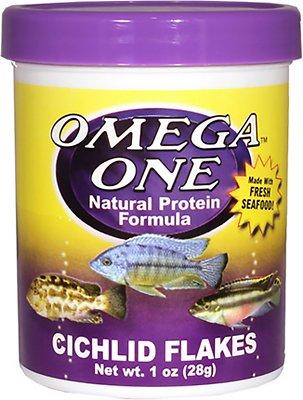 Omega One Cichlid Flakes Fish Food, 1-oz jar