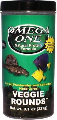Omega One Sinking Veggie Rounds Freshwater & Saltwater Fish Food, 8.1-oz jar