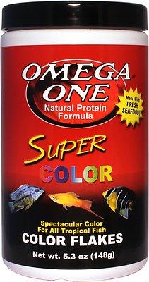 Omega One Super Color Flakes Tropical Fish Food, 5.3-oz jar