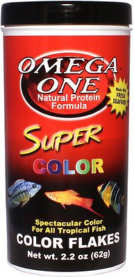 Omega One Super Color Flakes Tropical Fish Food, 2.2-oz jar