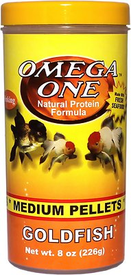 Omega One Medium Sinking Goldfish Pellets Fish Food, 8-oz jar