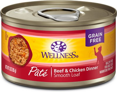 Wellness Complete Health Pate Beef & Chicken Formula Grain-Free Canned Cat Food, 3-oz, case of 24