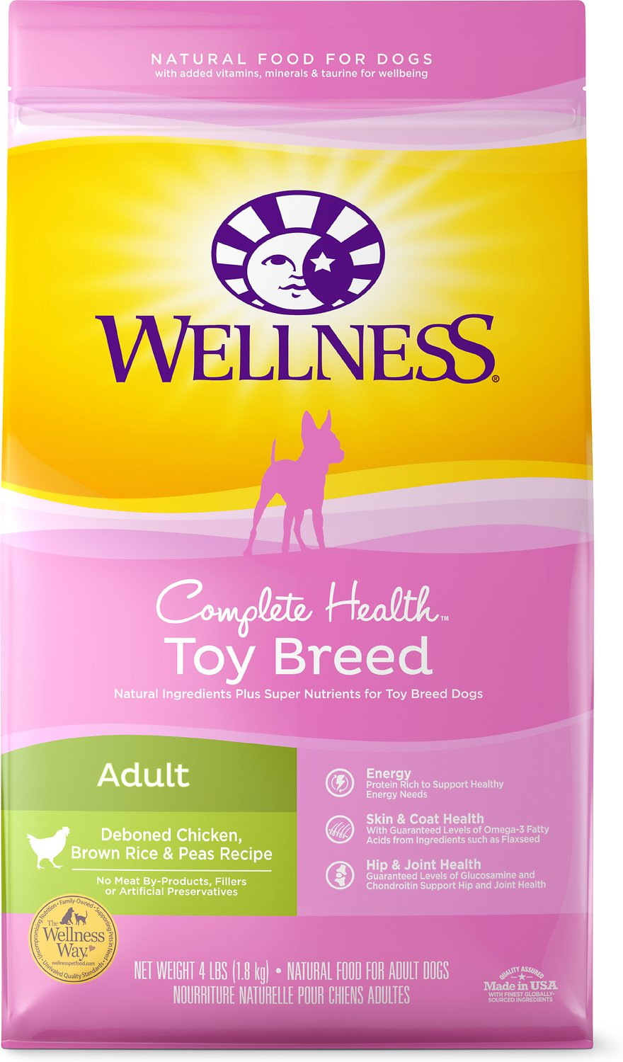 Wellness Complete Health Toy Breed Adult Chicken, Brown Rice & Peas Dry Dog Food, 4-lb