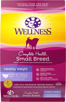 Wellness Complete Health Small Breed Adult Healthy Weight Turkey & Brown Rice Dry Dog Food, 12-lb