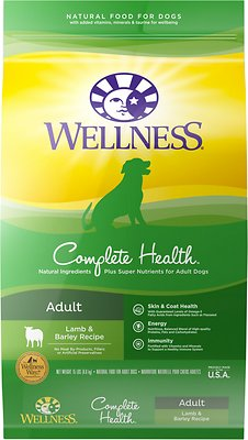 Wellness Complete Health Adult Lamb & Barley Dry Dog Food, 15-lb