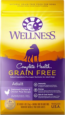 Wellness Complete Health Grain-Free Adult Chicken Dry Dog Food, 4-lb