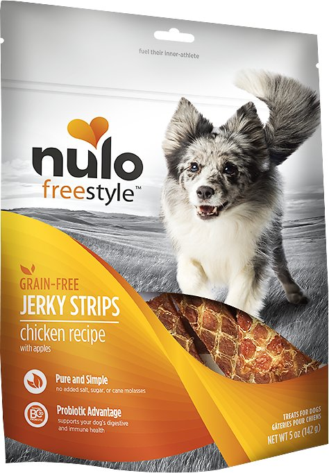 Nulo Dog Freestyle Grain-Free Chicken Recipe With Apples Jerky Dog Treats, 5-oz bag