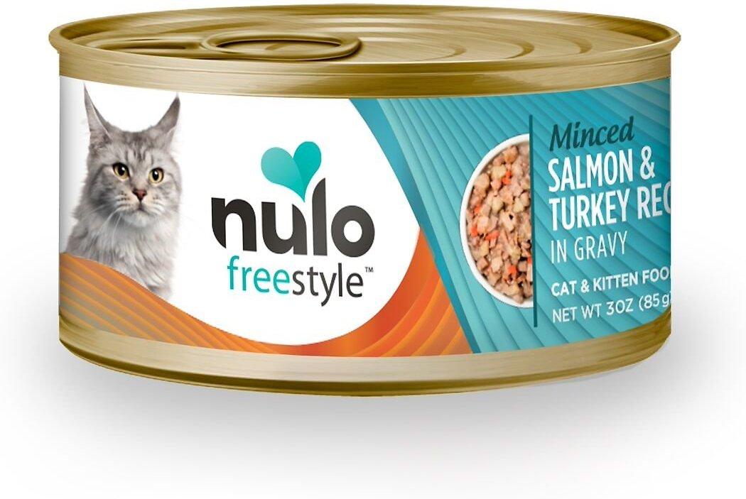 Nulo Cat Freestyle Minced Salmon & Turkey in Gravy Grain-Free Canned Cat & Kitten Food, 3 oz