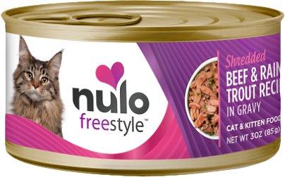 Nulo Cat Freestyle Shredded Beef & Rainbow Trout in Gravy Grain-Free Canned Cat & Kitten Food, 3-oz