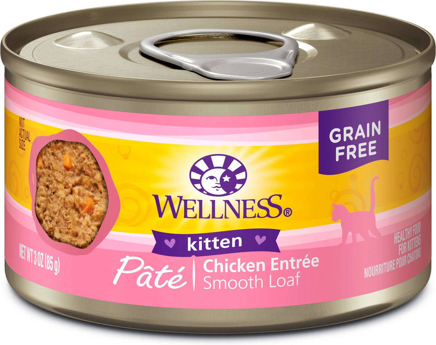 Wellness Complete Health Pate Kitten Formula Grain-Free Canned Cat Food, 3-oz, case of 24