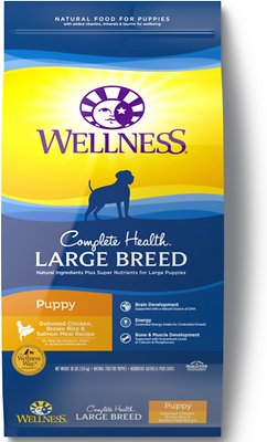 Wellness Complete Health Large Breed Puppy Chicken, Brown Rice & Salmon Dry Dog Food, 30-lb