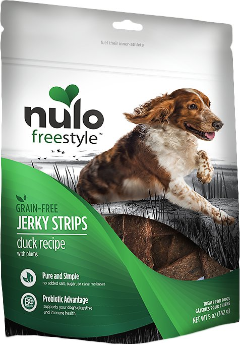 Nulo Dog Freestyle Grain-Free Duck Recipe With Plum Jerky Dog Treats, 5-oz bag
