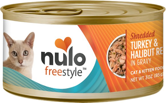 Nulo Cat Freestyle Shredded Turkey & Halibut in Gravy Grain-Free Canned Cat Food, 3-oz