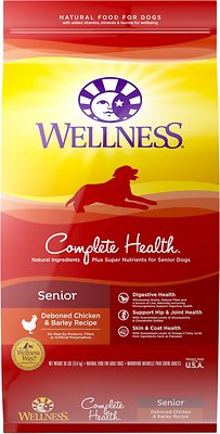 Wellness Complete Health Senior Chicken & Barley Dry Dog Food, 30-lb