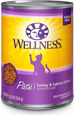 Wellness Complete Health Pate Turkey & Salmon Formula Grain-Free Canned Cat Food, 12.5-oz, case of 12
