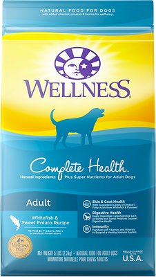 Wellness Complete Health Adult Whitefish & Sweet Potato Recipe Dry Dog Food, 5-lb bag