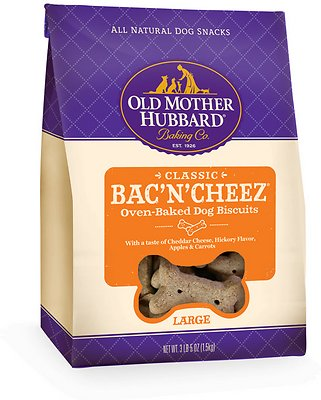 Old Mother Hubbard Classic Bac'N'Cheez Biscuits Baked Dog Treats, Large, 3.3-lb bag
