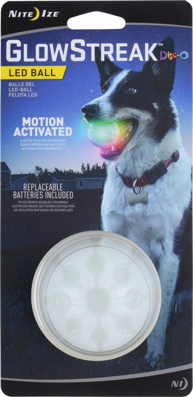 Nite Ize GlowStreak LED Ball Dog Toy, Disc-O
