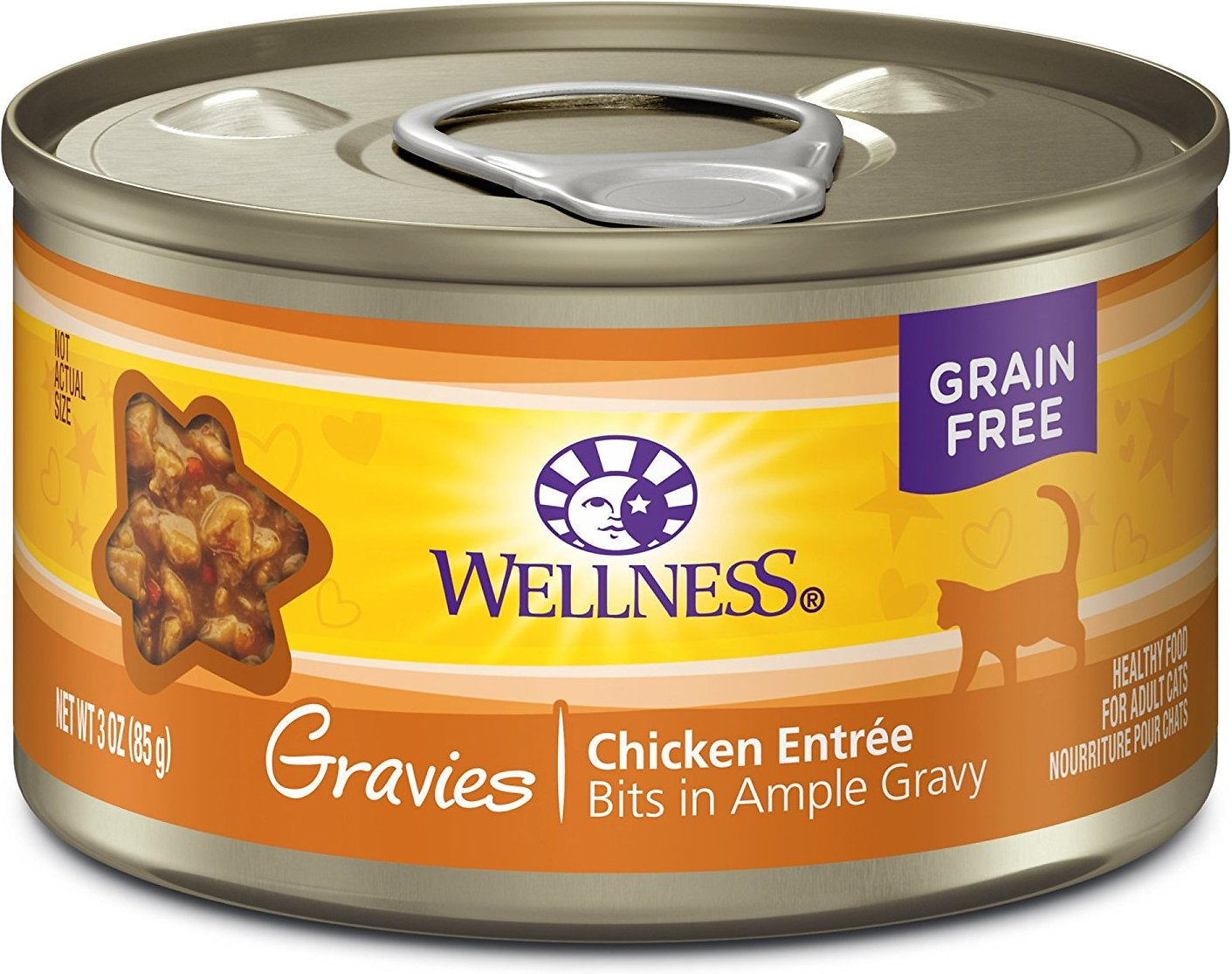 Wellness Natural Grain-Free Gravies Chicken Dinner Canned Cat Food, 5.5-oz