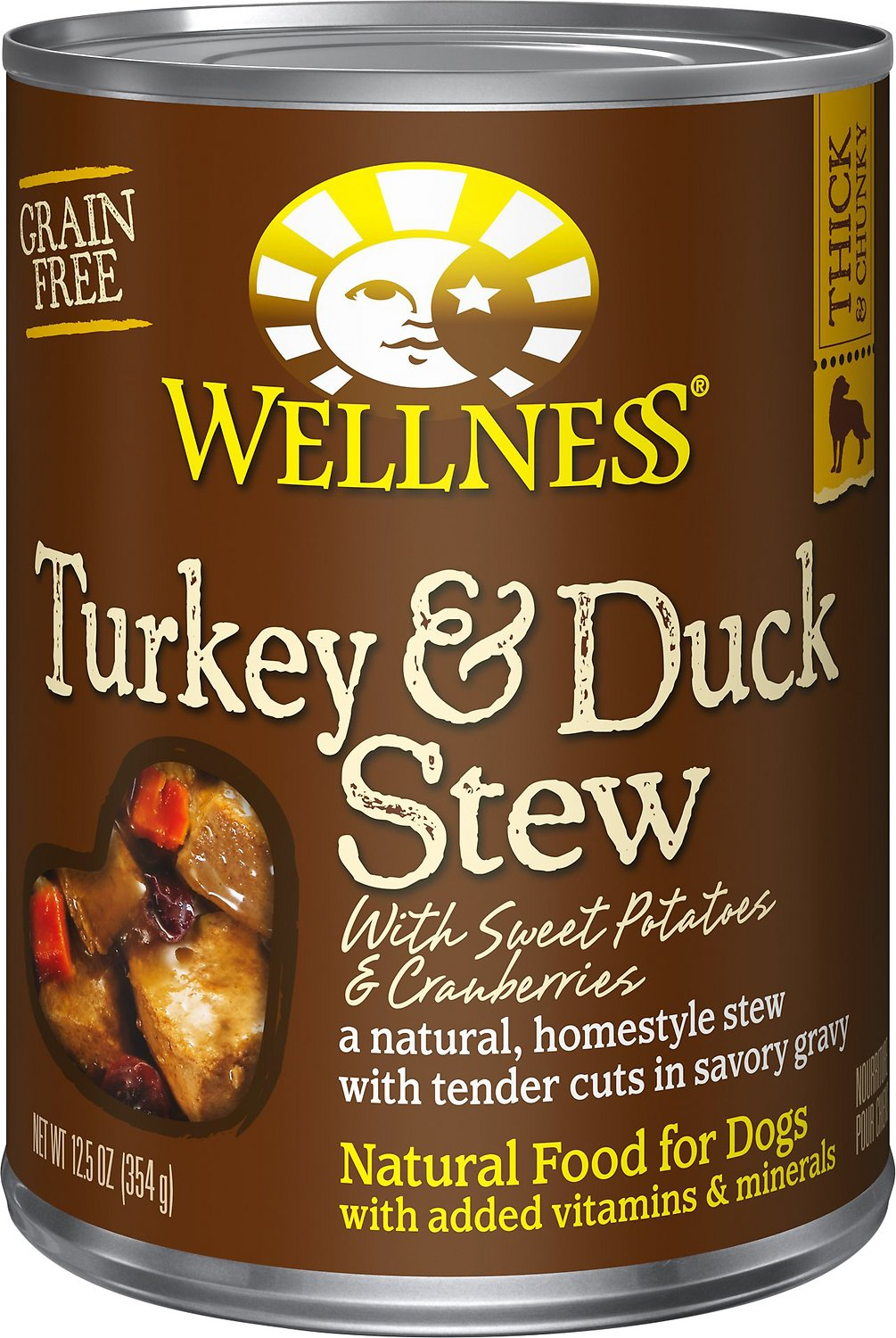 Wellness Turkey & Duck Stew with Sweet Potatoes & Cranberries Canned Dog Food, 12.5-oz