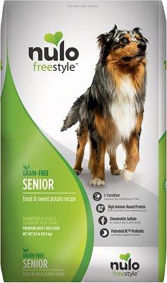 Nulo Dog Freestyle Trout & Sweet Potato Recipe Grain-Free Senior Dry Dog Food, 24-lb bag