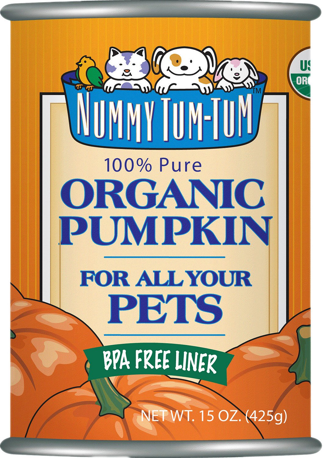 Nummy Tum-Tum Pure Organic Pumpkin Canned Dog & Cat Food Supplement, 15 Ounces