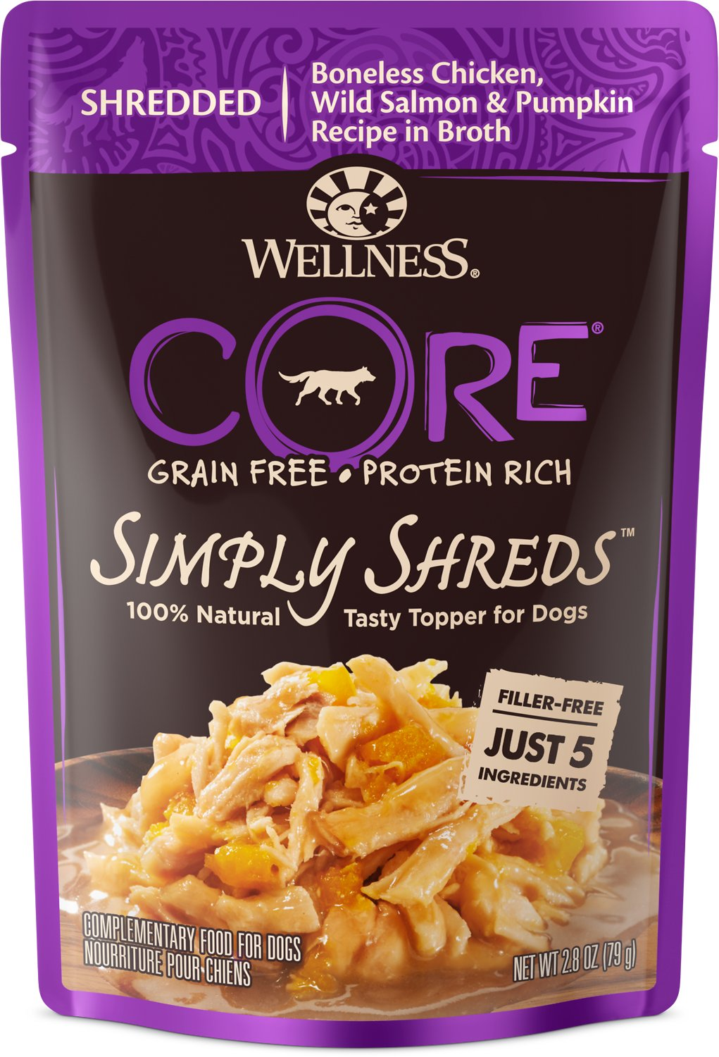 Wellness CORE Simply Shreds Grain-Free Chicken, Wild Salmon & Pumpkin Wet Dog Food Topper, 2.8-oz, case of 12