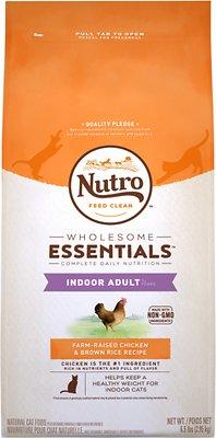 Nutro Wholesome Essentials Indoor Adult Farm-Raised Chicken & Brown Rice Recipe Dry Cat Food, 6.5-lb bag