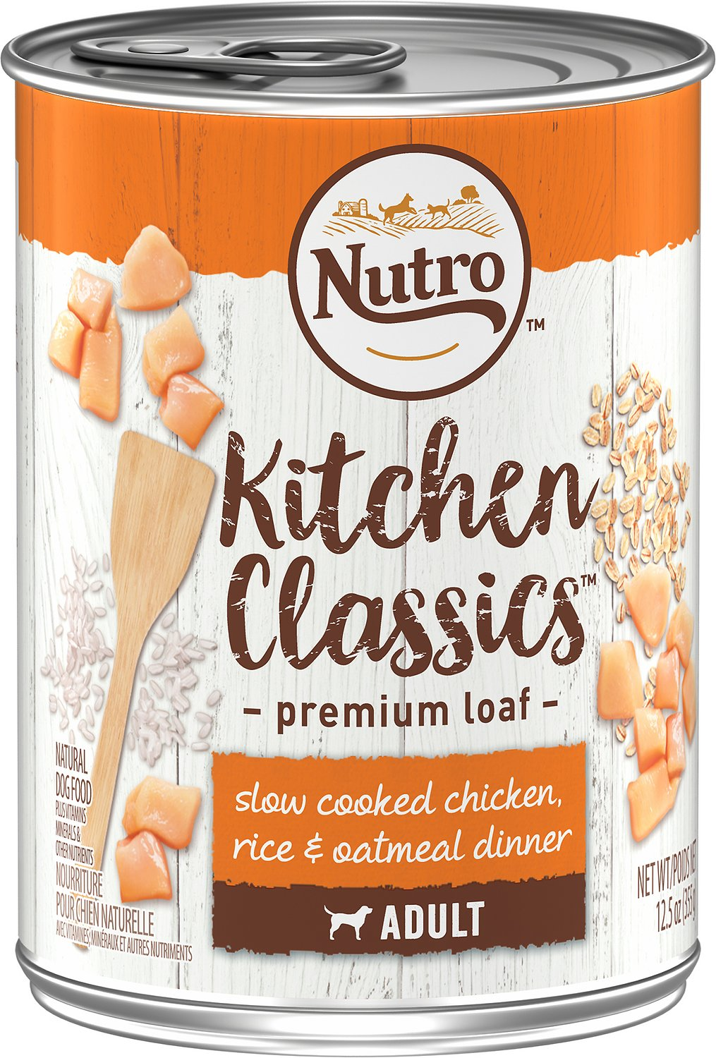 Nutro Adult Kitchen Classics Slow Cooked Chicken, Rice & Oatmeal Dinner Canned Dog Food, 12.5-oz