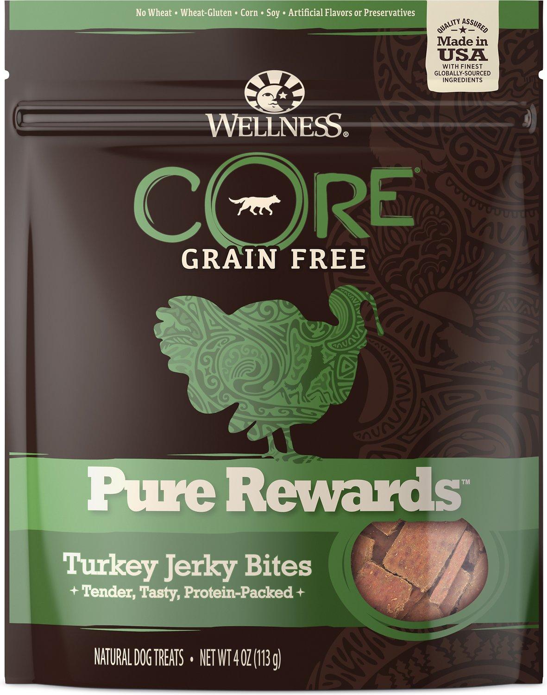 Wellness CORE Pure Rewards Grain-Free Turkey Jerky Bites Dog Treats, 4-oz bag