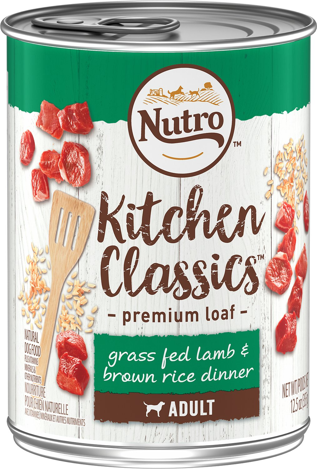 Nutro Adult Kitchen Classics Grass Fed Lamb & Brown Rice Canned Dog Food, 12.5-oz