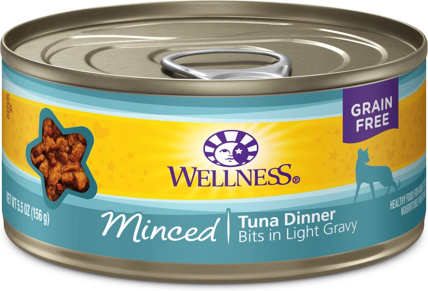 Wellness Minced Tuna Dinner Grain-Free Canned Cat Food, 5.5-oz