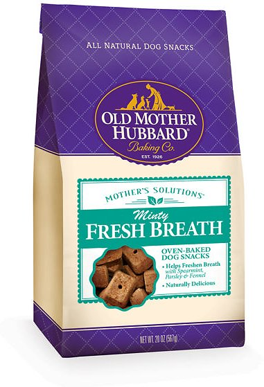 Old Mother Hubbard Mother's Solution's Minty Fresh Breath Baked Dog Treats, 20-oz bag (Weights: 1.25pounds) Image
