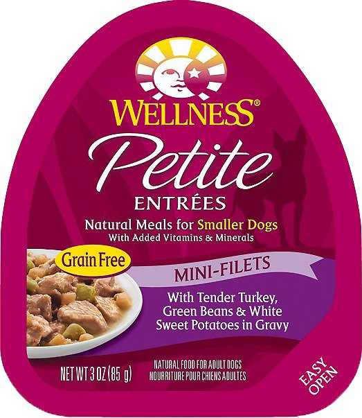 Wellness Petite Entrees Mini-Filets with Tender Turkey, Green Beans & White Sweet Potatoes in Gravy Grain-Free Wet Dog Food, 3-oz