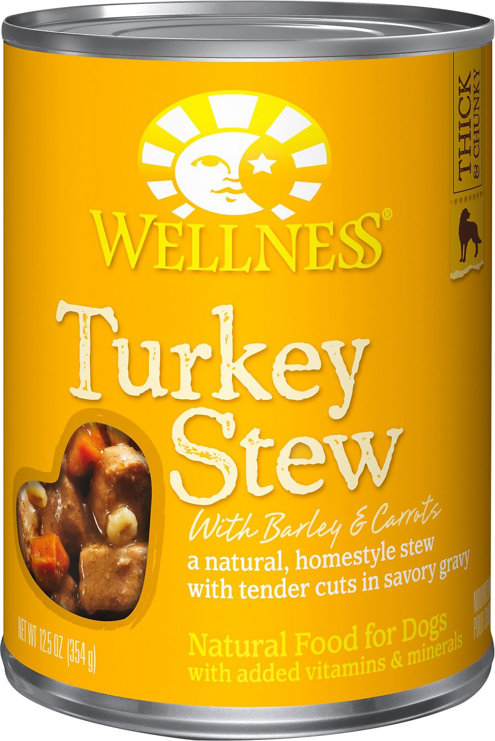 Wellness Homestyle Stew Turkey with Barley & Carrots Canned Dog Food, 12.5-oz