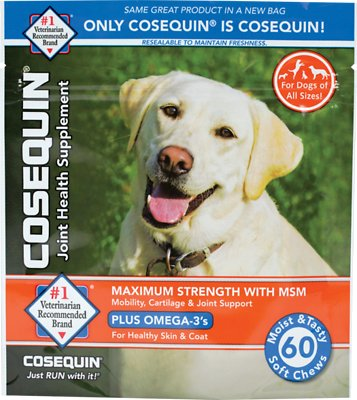 Nutramax Cosequin Maximum Strength (DS) Plus MSM Soft Chews Joint Health Dog Supplement, 60-count