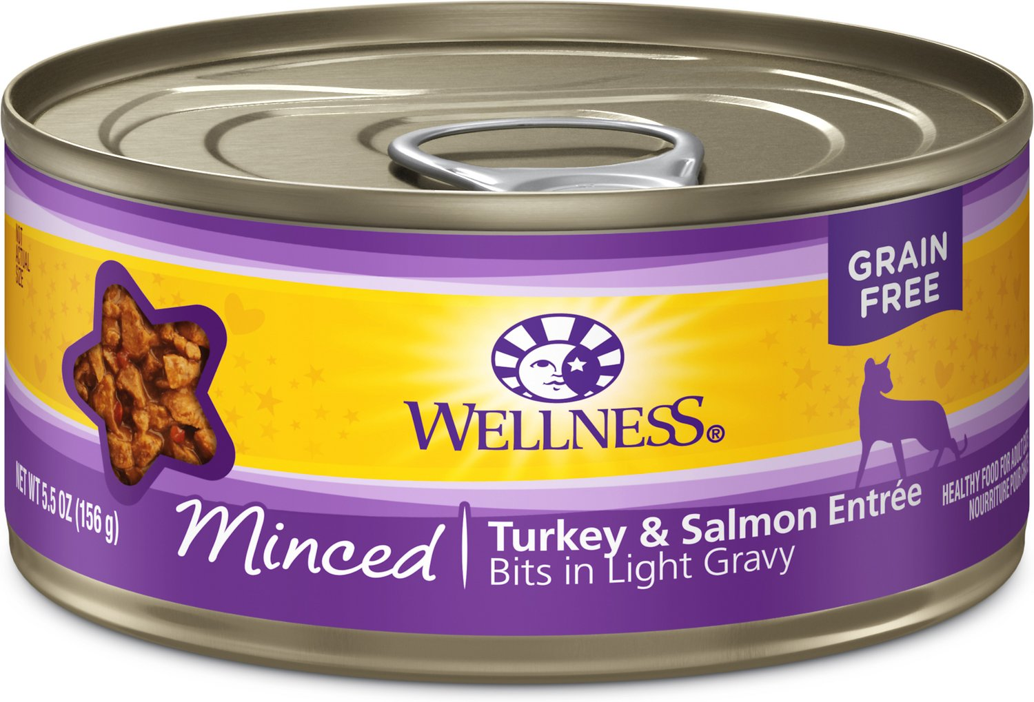 Wellness Complete Health Minced Turkey & Salmon Entree Canned Cat Food, 5.5-oz, case of 24