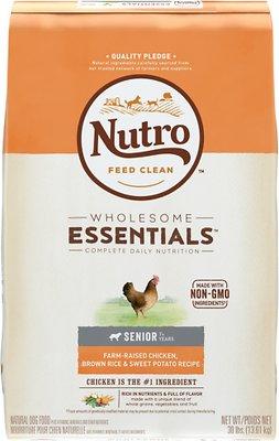 Nutro Wholesome Essentials Senior Farm Raised Chicken, Brown Rice & Sweet Potato Recipe Dry Dog Food, 30-lb bag