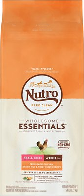Nutro Wholesome Essentials Small Breed Adult Farm Raised Chicken, Brown Rice & Sweet Potato Recipe Dry Dog Food, 5-lb